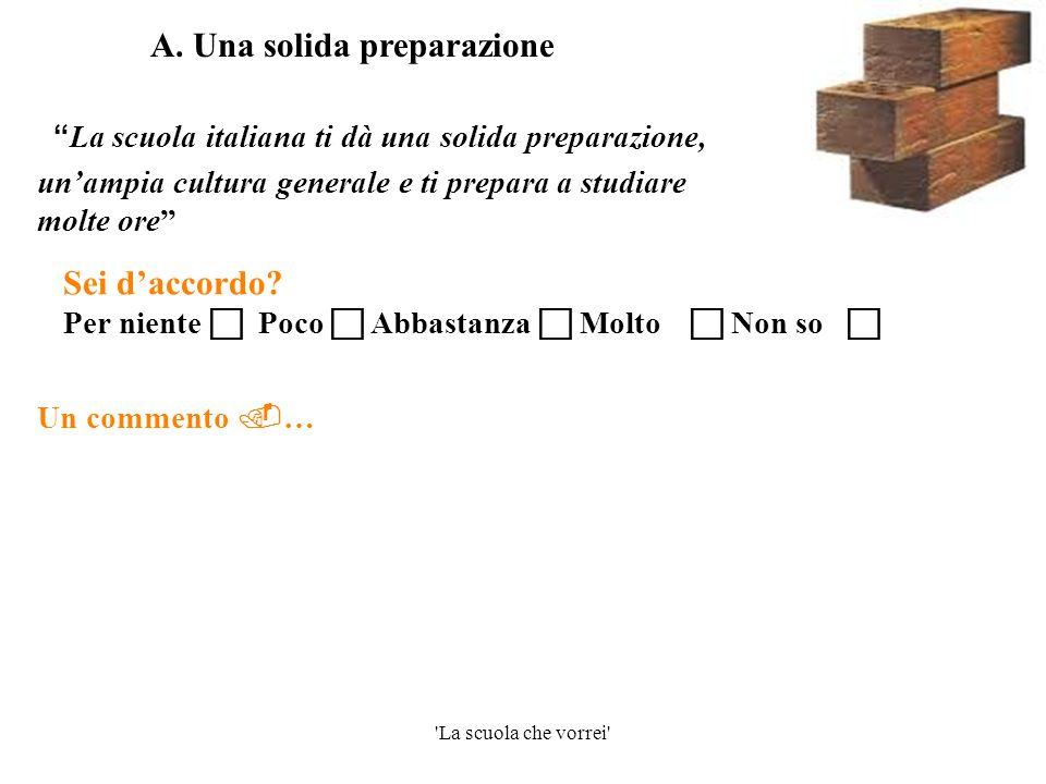 """'La scuola che vorrei' """" La scuola italiana ti dà una solida preparazione, un'ampia cultura generale e ti prepara a studiare molte ore"""" Un commento """