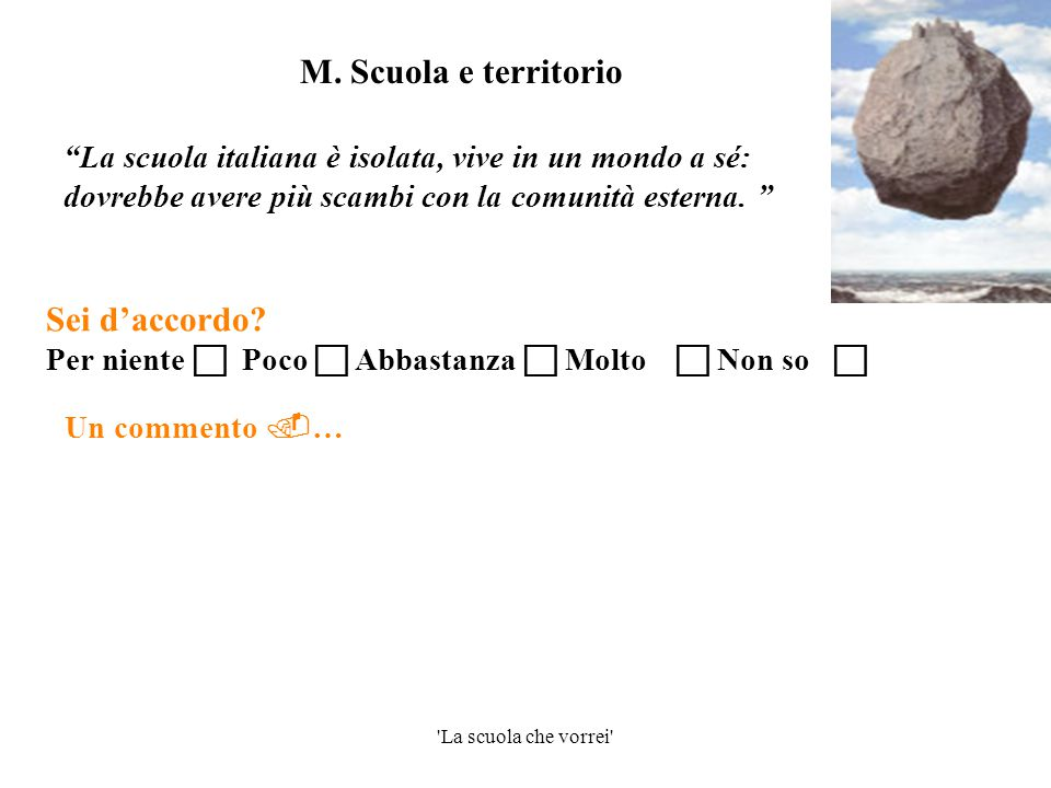 """'La scuola che vorrei' Un commento  … """"La scuola italiana è isolata, vive in un mondo a sé: dovrebbe avere più scambi con la comunità esterna. """" M. S"""