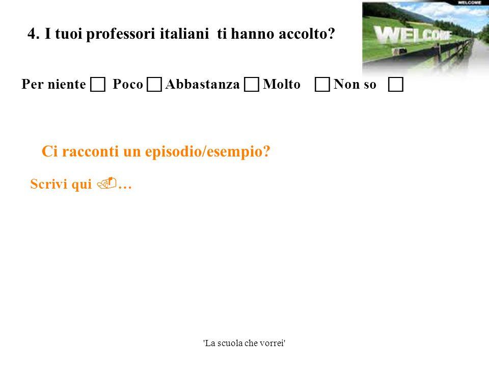 'La scuola che vorrei' Scrivi qui  … 4. I tuoi professori italiani ti hanno accolto? Ci racconti un episodio/esempio? Per niente  Poco  Abbastanza