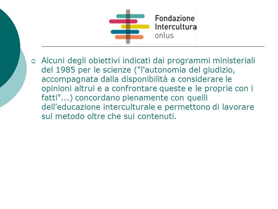  Alcuni degli obiettivi indicati dai programmi ministeriali del 1985 per le scienze (