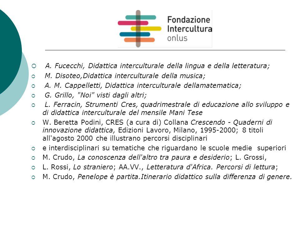  A. Fucecchi, Didattica interculturale della lingua e della letteratura;  M. Disoteo,Didattica interculturale della musica;  A. M. Cappelletti, Did