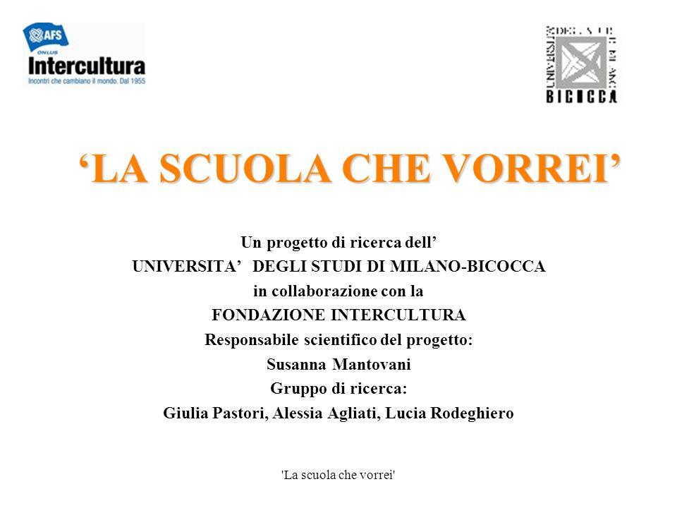 La scuola che vorrei Cosa pensi della scuola italiana.