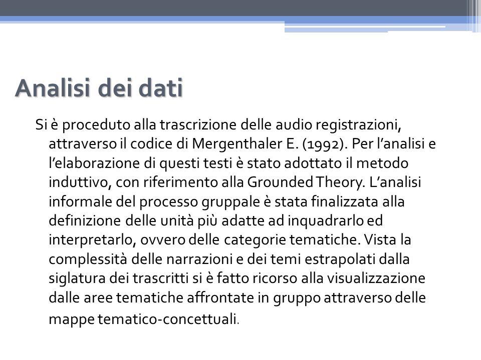 Analisi dei dati Si è proceduto alla trascrizione delle audio registrazioni, attraverso il codice di Mergenthaler E.