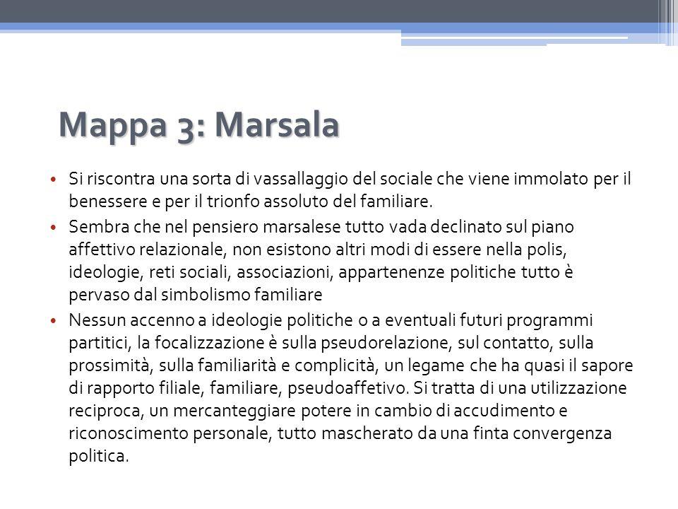 Mappa 3: Marsala Si riscontra una sorta di vassallaggio del sociale che viene immolato per il benessere e per il trionfo assoluto del familiare.