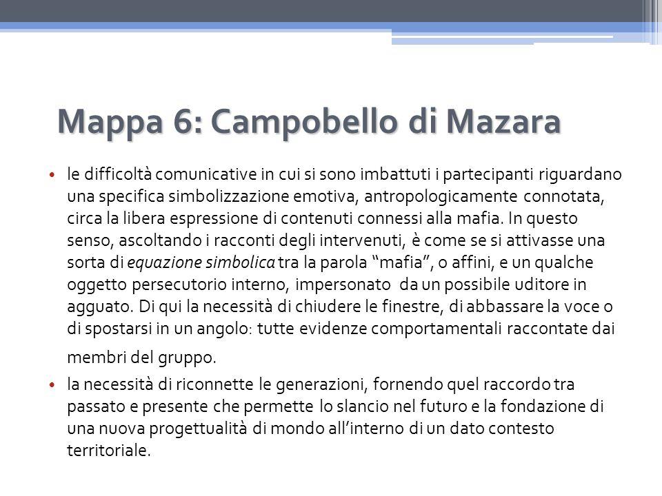 Mappa 6: Campobello di Mazara le difficoltà comunicative in cui si sono imbattuti i partecipanti riguardano una specifica simbolizzazione emotiva, antropologicamente connotata, circa la libera espressione di contenuti connessi alla mafia.