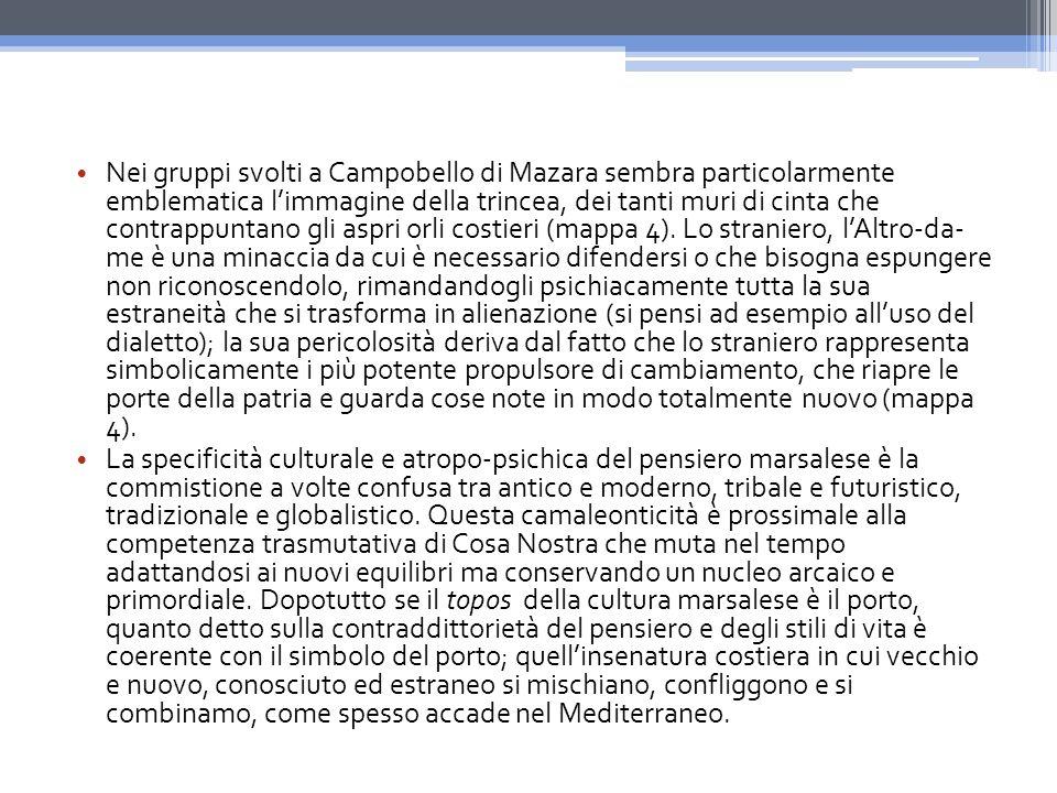 Nei gruppi svolti a Campobello di Mazara sembra particolarmente emblematica l'immagine della trincea, dei tanti muri di cinta che contrappuntano gli aspri orli costieri (mappa 4).