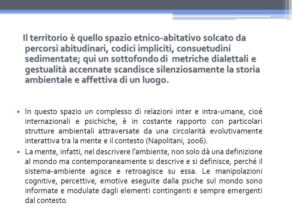 In questo spazio un complesso di relazioni inter e intra-umane, cioè internazionali e psichiche, è in costante rapporto con particolari strutture ambientali attraversate da una circolarità evolutivamente interattiva tra la mente e il contesto (Napolitani, 2006).