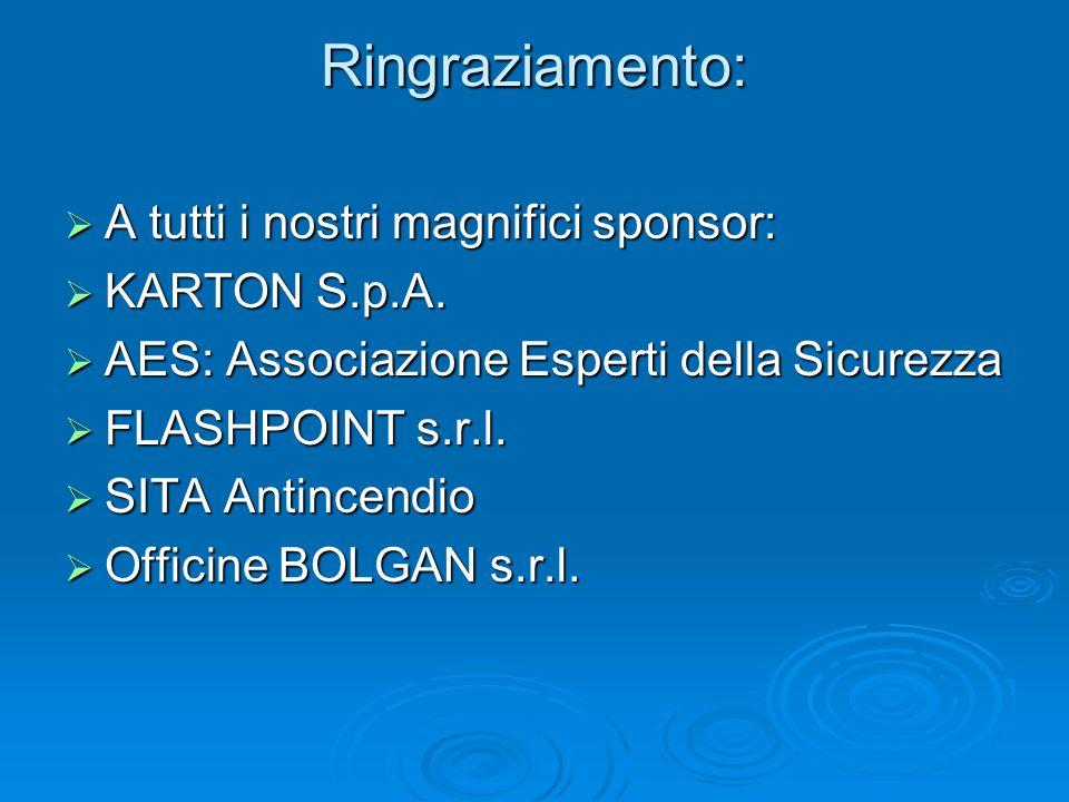 Ringraziamento:  A tutti i nostri magnifici sponsor:  KARTON S.p.A.  AES: Associazione Esperti della Sicurezza  FLASHPOINT s.r.l.  SITA Antincend