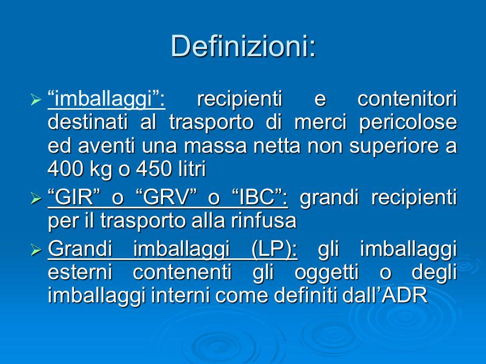 """Definizioni:  recipienti e contenitori destinati al trasporto di merci pericolose ed aventi una massa netta non superiore a 400 kg o 450 litri  """"imb"""