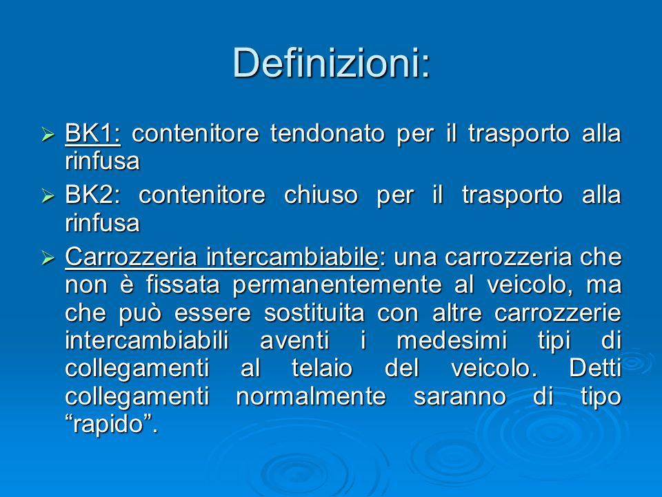 Definizioni:  BK1: contenitore tendonato per il trasporto alla rinfusa  BK2: contenitore chiuso per il trasporto alla rinfusa  Carrozzeria intercam
