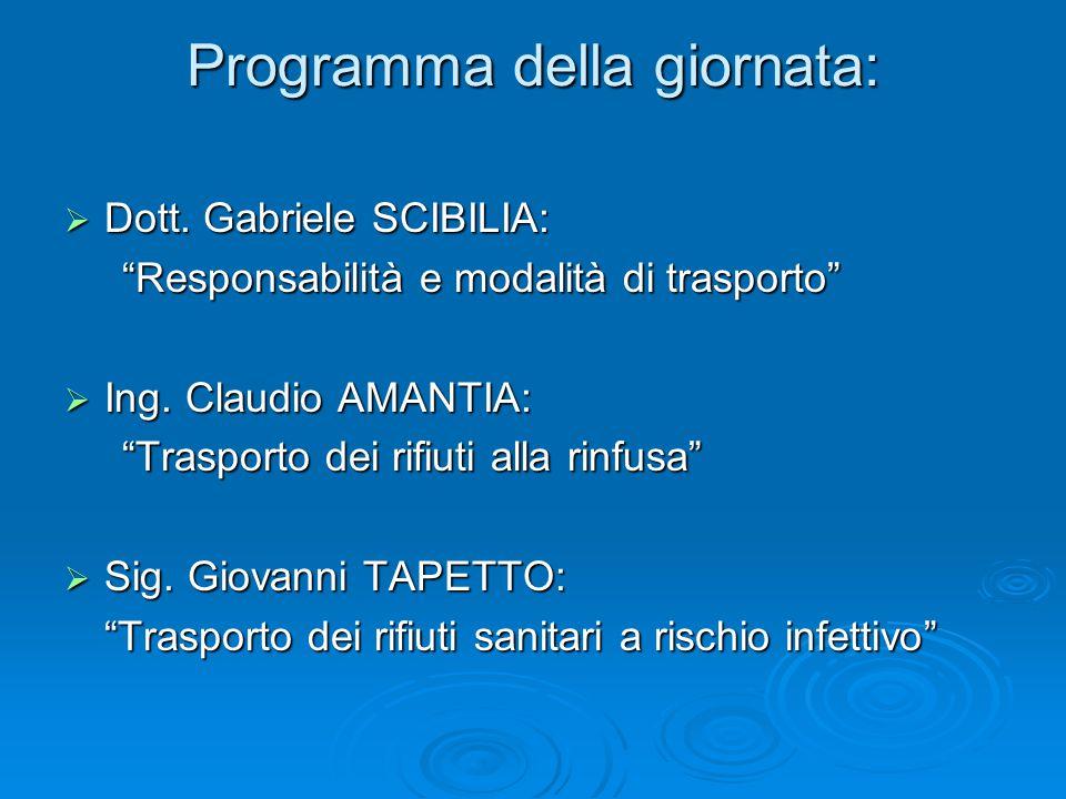 """Programma della giornata:  Dott. Gabriele SCIBILIA: """"Responsabilità e modalità di trasporto"""" """"Responsabilità e modalità di trasporto""""  Ing. Claudio"""