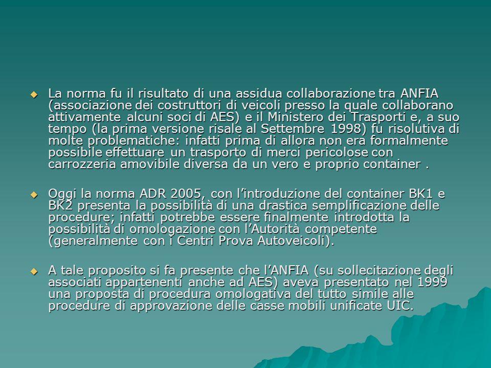 La norma fu il risultato di una assidua collaborazione tra ANFIA (associazione dei costruttori di veicoli presso la quale collaborano attivamente al
