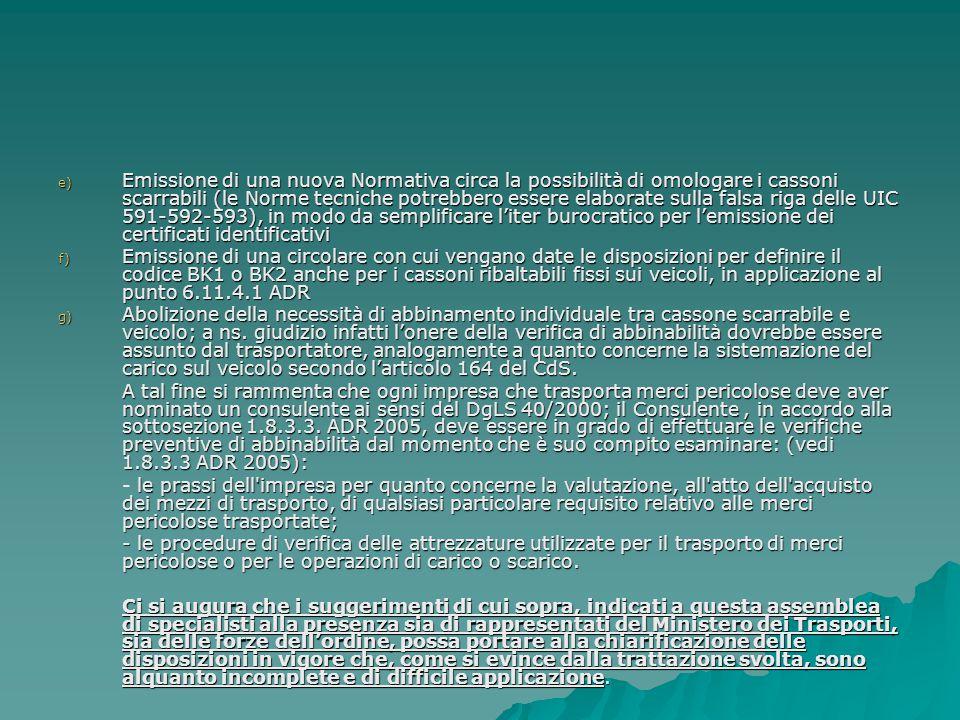 e) Emissione di una nuova Normativa circa la possibilità di omologare i cassoni scarrabili (le Norme tecniche potrebbero essere elaborate sulla falsa