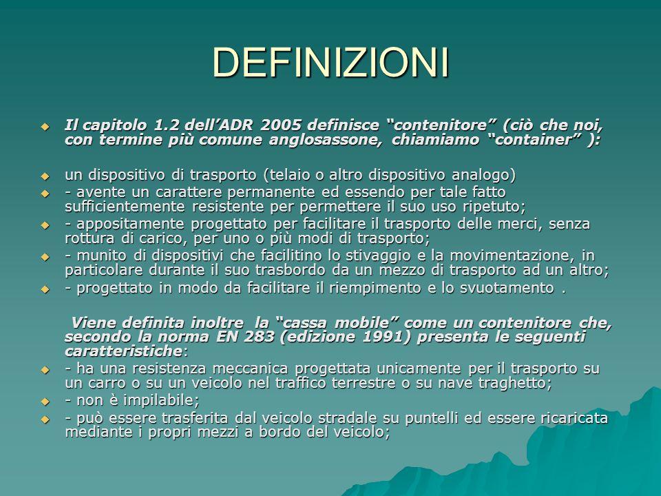 """DEFINIZIONI  Il capitolo 1.2 dell'ADR 2005 definisce """"contenitore"""" (ciò che noi, con termine più comune anglosassone, chiamiamo """"container"""" ):  un d"""