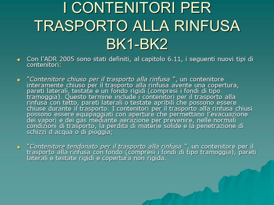  I codici da utilizzare per designare i tipi di contenitori per il trasporto alla Rinfusa sono:  Contenitore tendonato per il trasporto alla rinfusa Codice BK1  Contenitore chiuso per il trasporto alla rinfusa Codice BK2