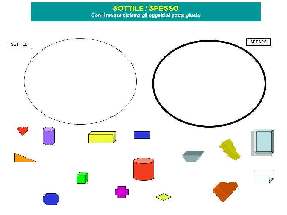 SOTTILE SPESSO SOTTILE / SPESSO Con il mouse sistema gli oggetti al posto giusto