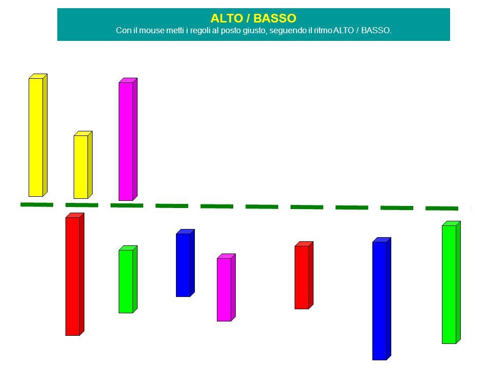 ALTO / BASSO Con il mouse metti i regoli al posto giusto, seguendo il ritmo ALTO / BASSO.