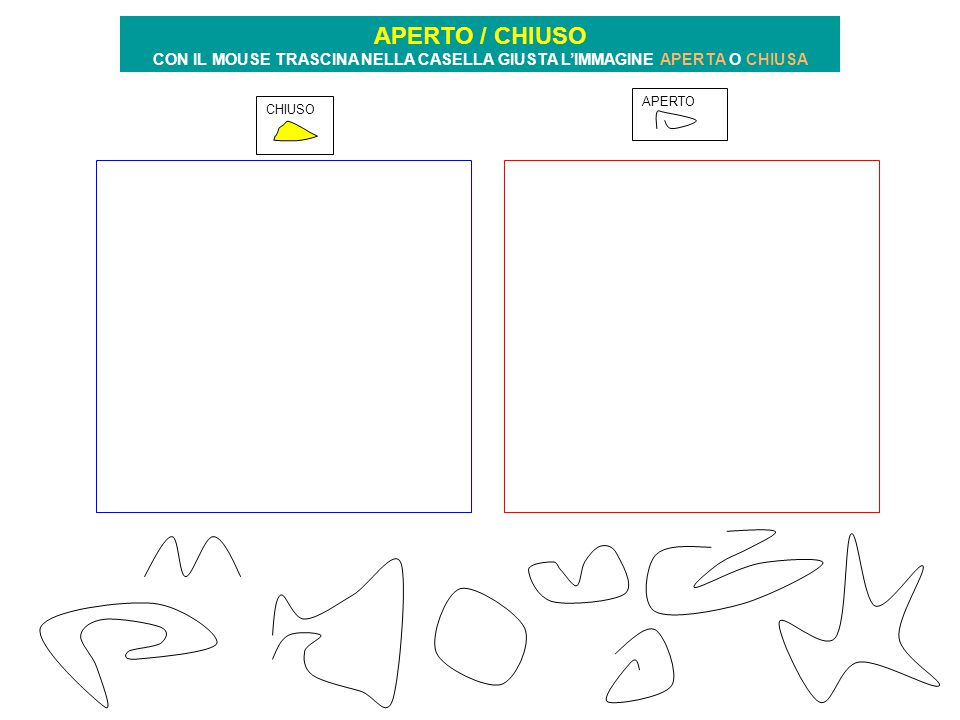 CHIUSO APERTO APERTO / CHIUSO CON IL MOUSE TRASCINA NELLA CASELLA GIUSTA L'IMMAGINE APERTA O CHIUSA