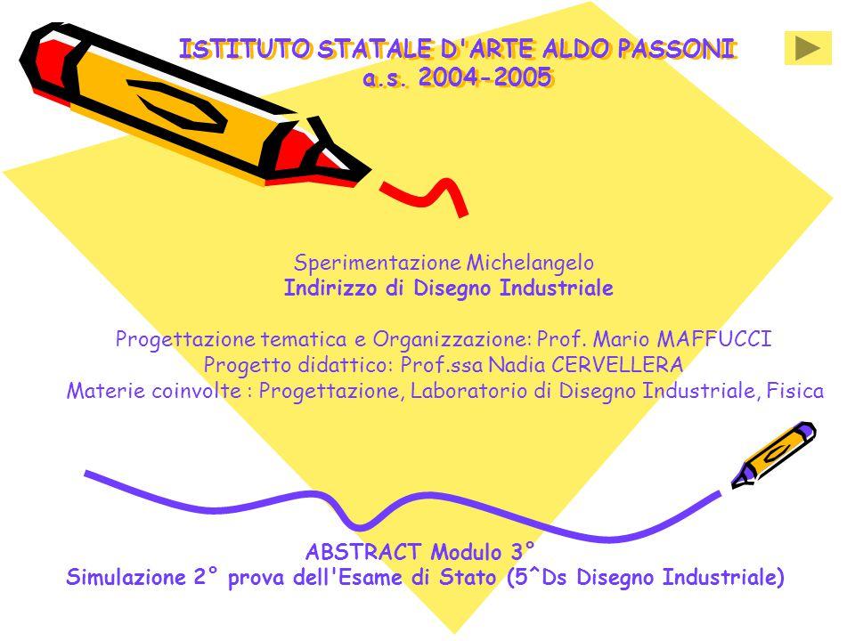 ISTITUTO STATALE D'ARTE ALDO PASSONI a.s. 2004-2005 Sperimentazione Michelangelo Indirizzo di Disegno Industriale Progettazione tematica e Organizzazi