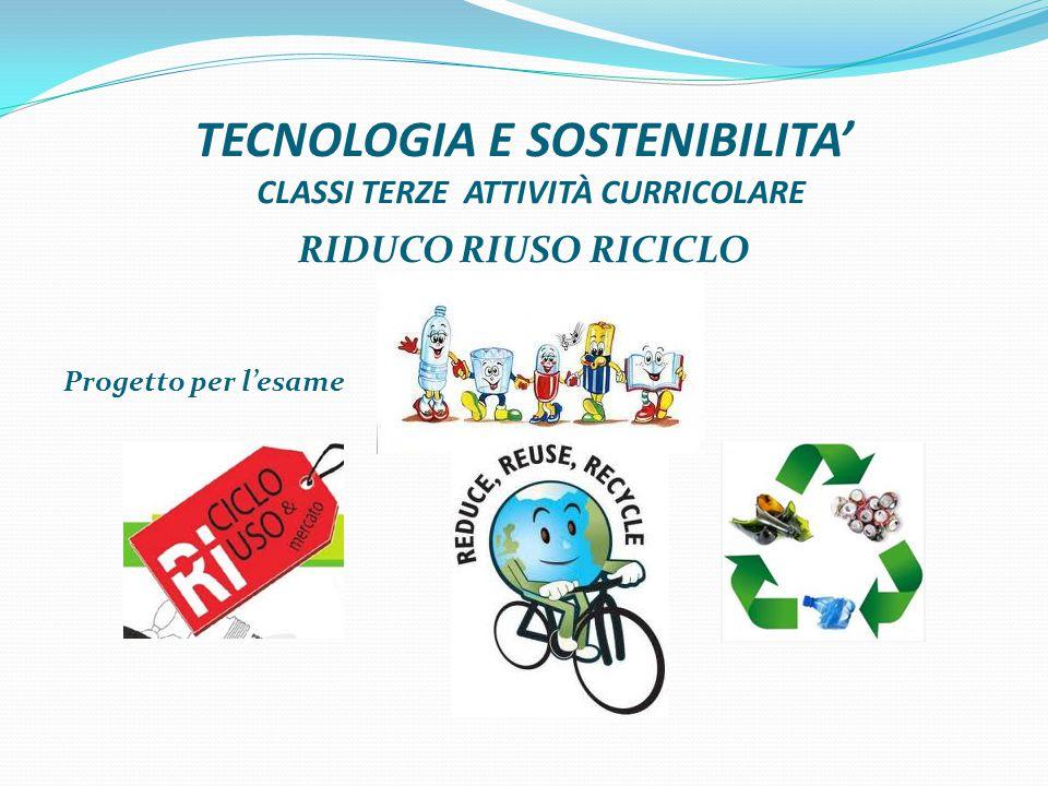 TECNOLOGIA E SOSTENIBILITA' CLASSI TERZE ATTIVITÀ CURRICOLARE RIDUCO RIUSO RICICLO Progetto per l'esame