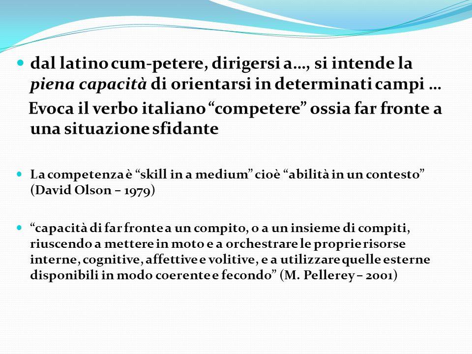 """dal latino cum-petere, dirigersi a…, si intende la piena capacità di orientarsi in determinati campi … Evoca il verbo italiano """"competere"""" ossia far f"""
