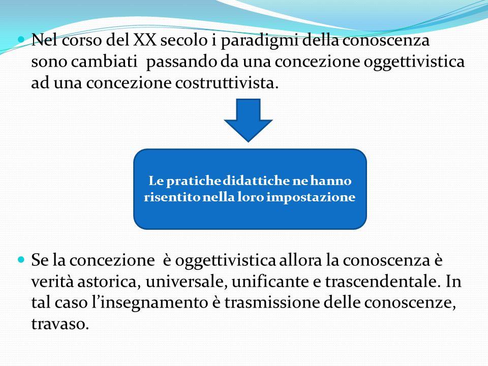 Nel corso del XX secolo i paradigmi della conoscenza sono cambiati passando da una concezione oggettivistica ad una concezione costruttivista.