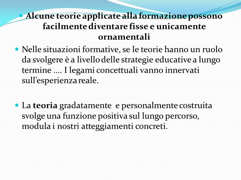 Alcune teorie applicate alla formazione possono facilmente diventare fisse e unicamente ornamentali Nelle situazioni formative, se le teorie hanno un ruolo da svolgere è a livello delle strategie educative a lungo termine ….