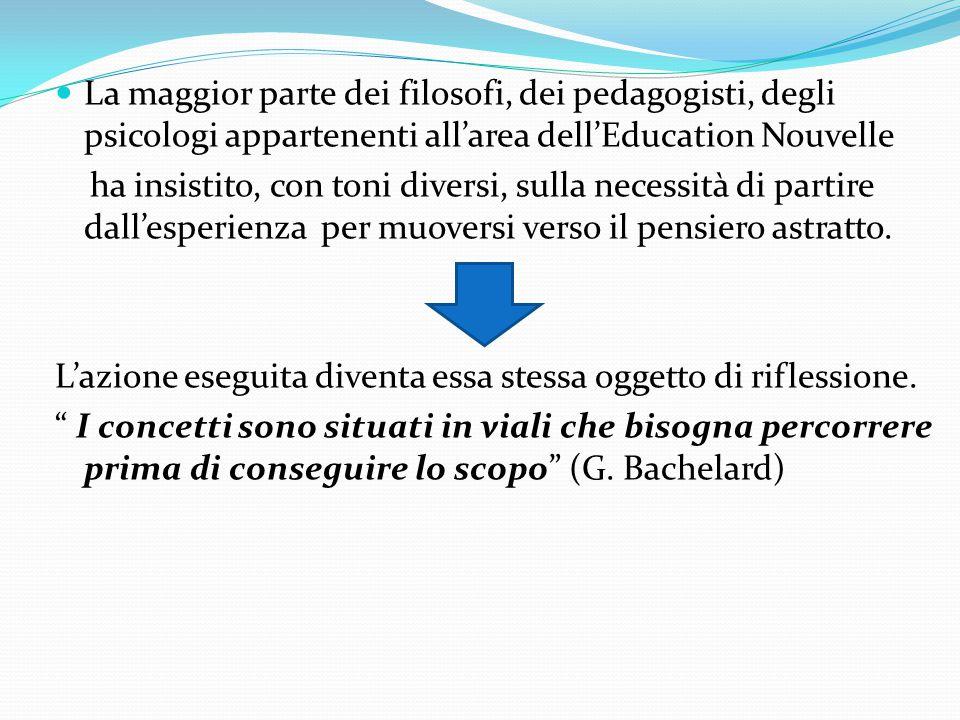 La maggior parte dei filosofi, dei pedagogisti, degli psicologi appartenenti all'area dell'Education Nouvelle ha insistito, con toni diversi, sulla necessità di partire dall'esperienza per muoversi verso il pensiero astratto.