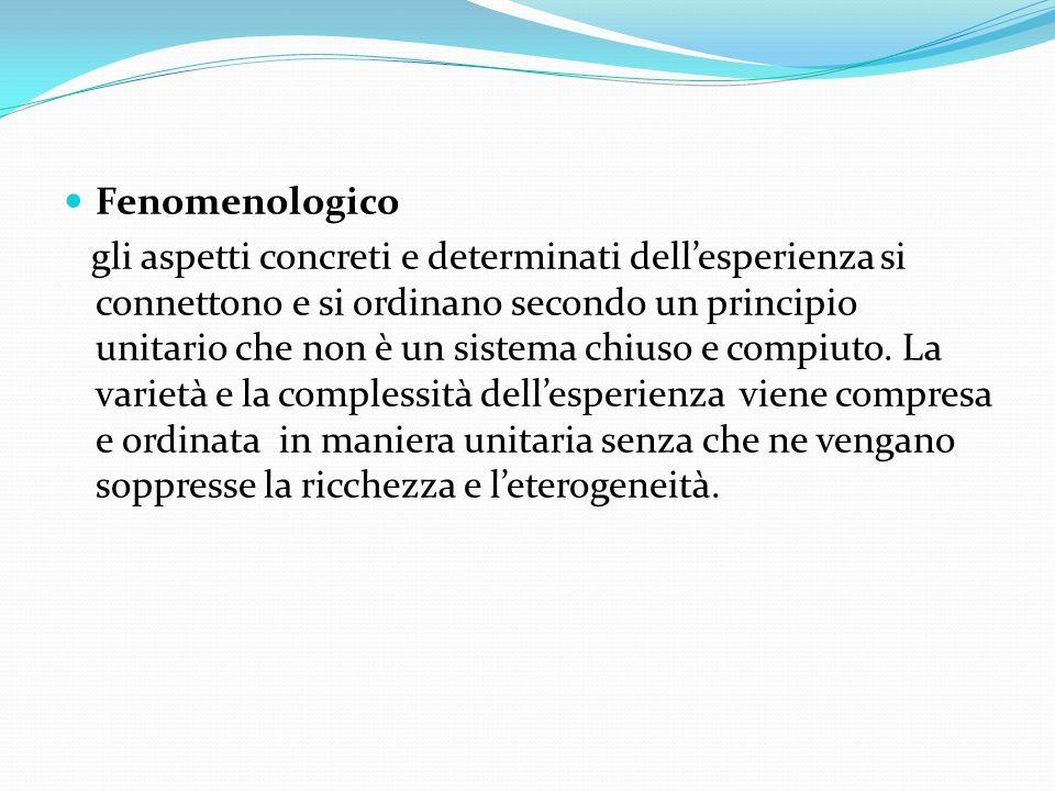 Fenomenologico gli aspetti concreti e determinati dell'esperienza si connettono e si ordinano secondo un principio unitario che non è un sistema chiuso e compiuto.