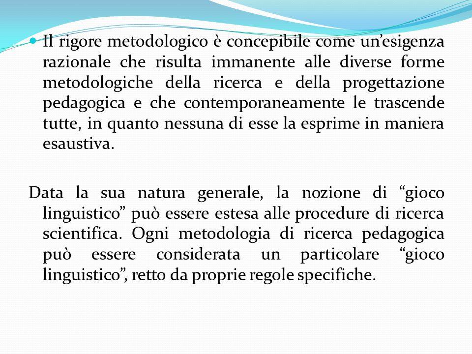 Il rigore metodologico è concepibile come un'esigenza razionale che risulta immanente alle diverse forme metodologiche della ricerca e della progettaz