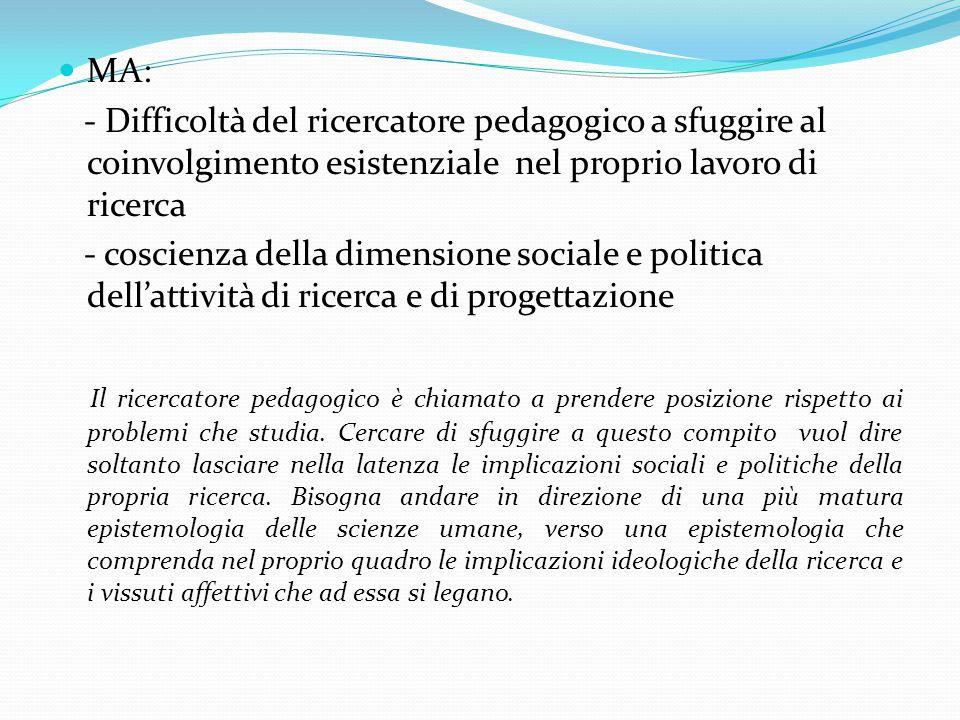 MA: - Difficoltà del ricercatore pedagogico a sfuggire al coinvolgimento esistenziale nel proprio lavoro di ricerca - coscienza della dimensione sociale e politica dell'attività di ricerca e di progettazione Il ricercatore pedagogico è chiamato a prendere posizione rispetto ai problemi che studia.