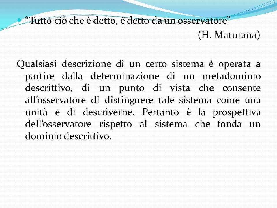 """""""Tutto ciò che è detto, è detto da un osservatore"""" (H. Maturana) Qualsiasi descrizione di un certo sistema è operata a partire dalla determinazione di"""