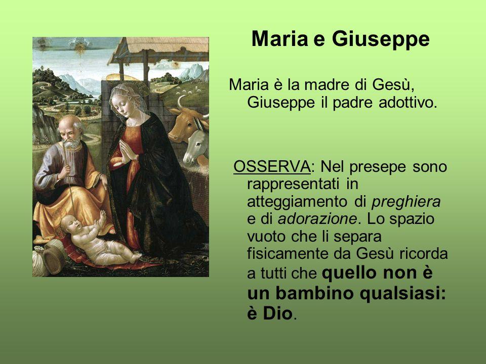Maria e Giuseppe Maria è la madre di Gesù, Giuseppe il padre adottivo. OSSERVA: Nel presepe sono rappresentati in atteggiamento di preghiera e di ador