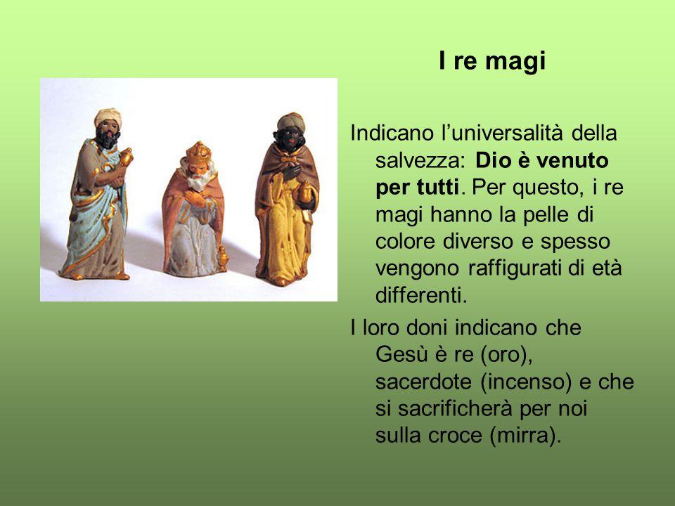 I re magi Indicano l'universalità della salvezza: Dio è venuto per tutti. Per questo, i re magi hanno la pelle di colore diverso e spesso vengono raff