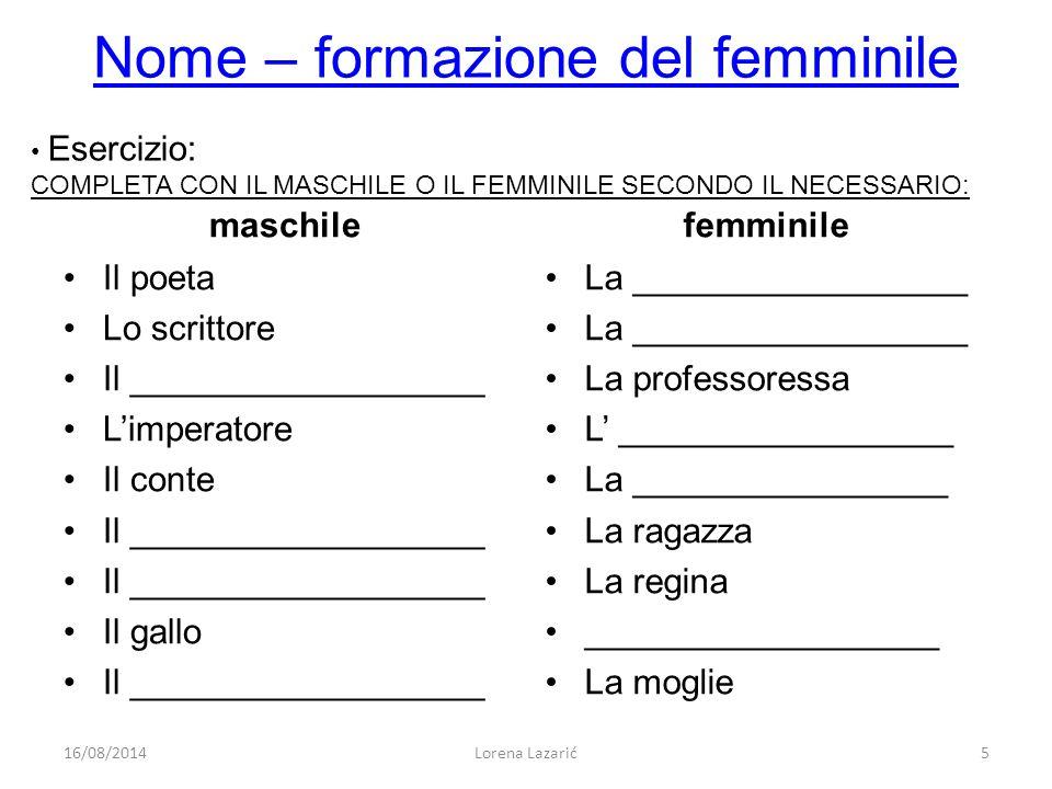 Nome – formazione del femminile maschile Il poeta Lo scrittore Il __________________ L'imperatore Il conte Il __________________ Il gallo Il _________