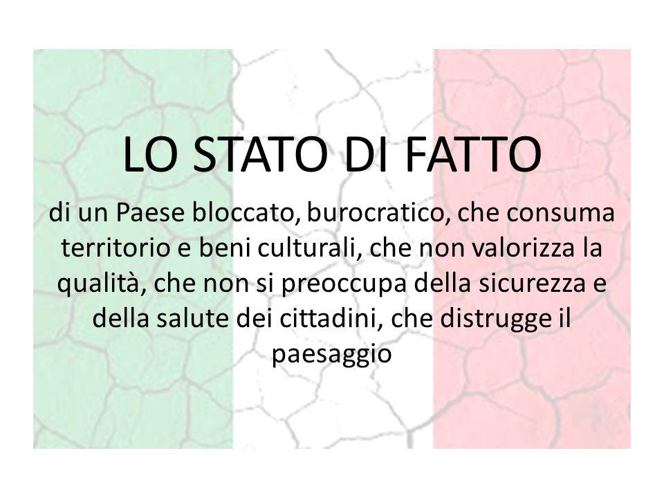 LO STATO DI FATTO di un Paese bloccato, burocratico, che consuma territorio e beni culturali, che non valorizza la qualità, che non si preoccupa della sicurezza e della salute dei cittadini, che distrugge il paesaggio