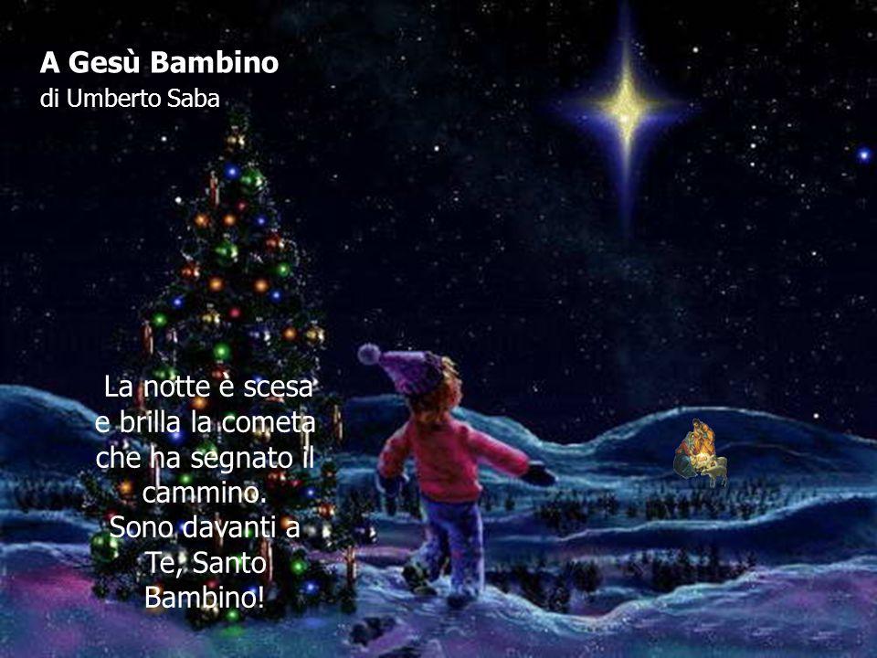 A Gesù Bambino di Umberto Saba La notte è scesa e brilla la cometa che ha segnato il cammino. Sono davanti a Te, Santo Bambino!