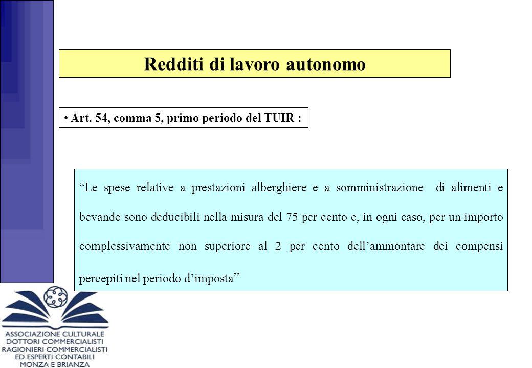 """Redditi di lavoro autonomo Art. 54, comma 5, primo periodo del TUIR : """"Le spese relative a prestazioni alberghiere e a somministrazione di alimenti e"""