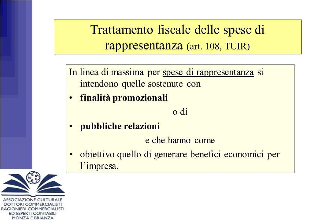 Trattamento fiscale delle spese di rappresentanza (art. 108, TUIR) In linea di massima per spese di rappresentanza si intendono quelle sostenute con f
