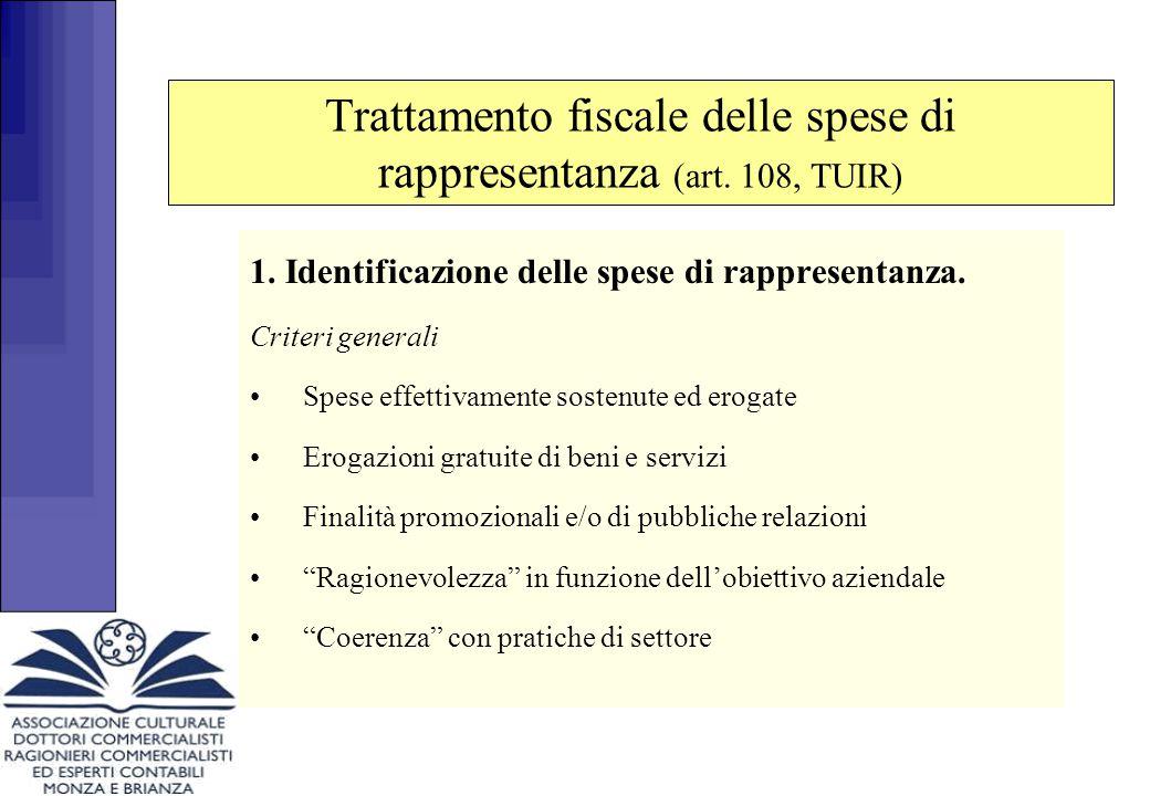 1.Identificazione delle spese di rappresentanza.