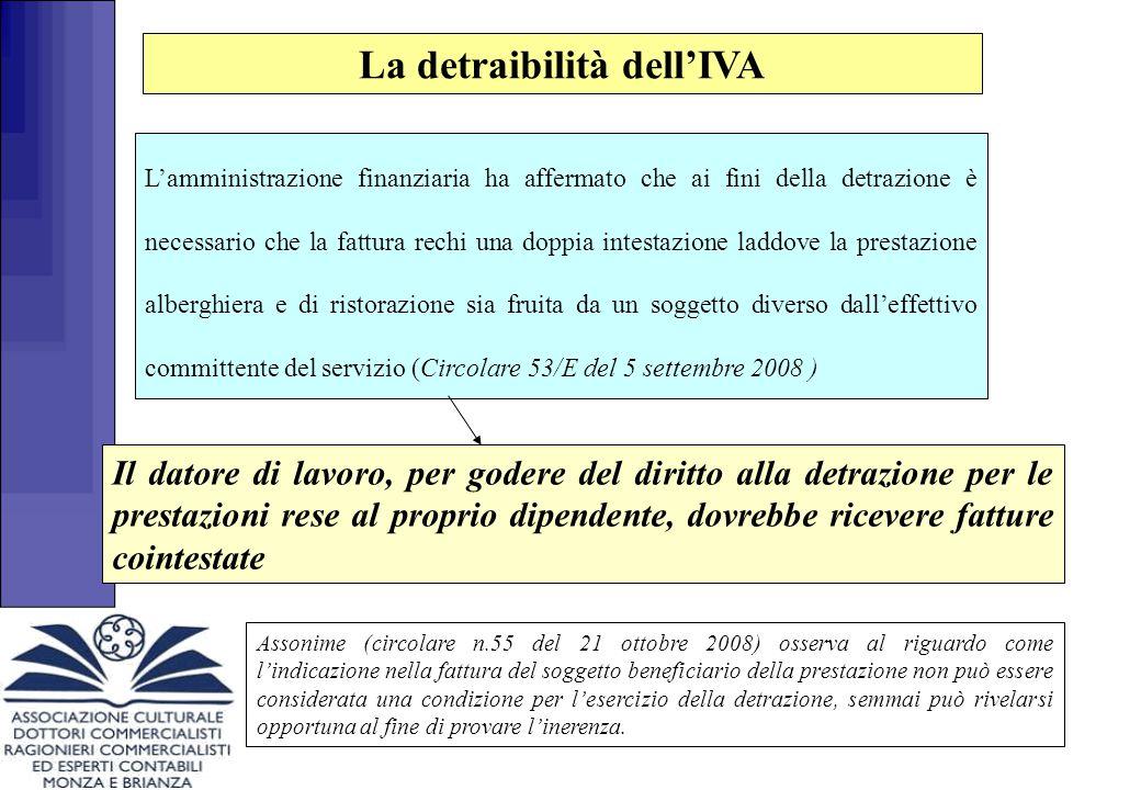 La detraibilità dell'IVA Resta ferma (per il momento) l'indetraibilità dell I.V.A.