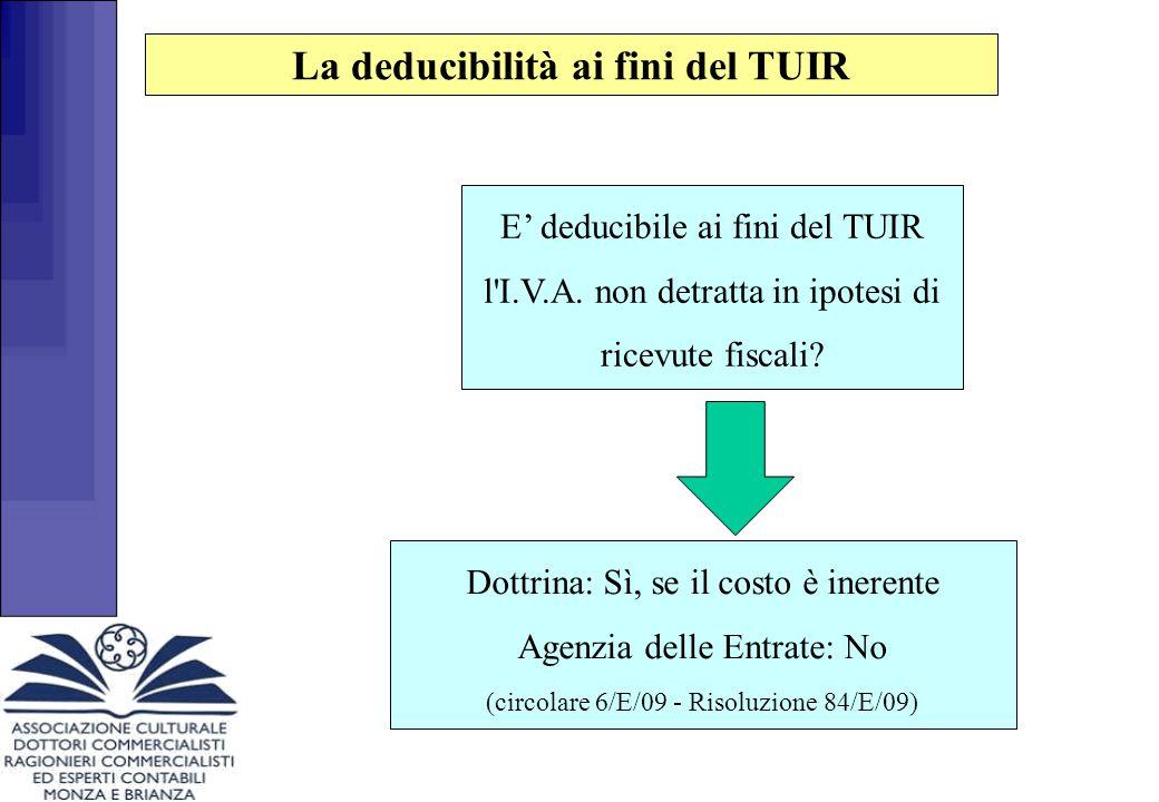 E' deducibile ai fini del TUIR l'I.V.A. non detratta in ipotesi di ricevute fiscali? Dottrina: Sì, se il costo è inerente Agenzia delle Entrate: No (c