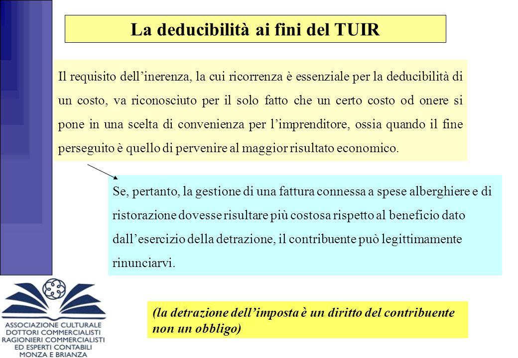 (la detrazione dell'imposta è un diritto del contribuente non un obbligo) Se, pertanto, la gestione di una fattura connessa a spese alberghiere e di r