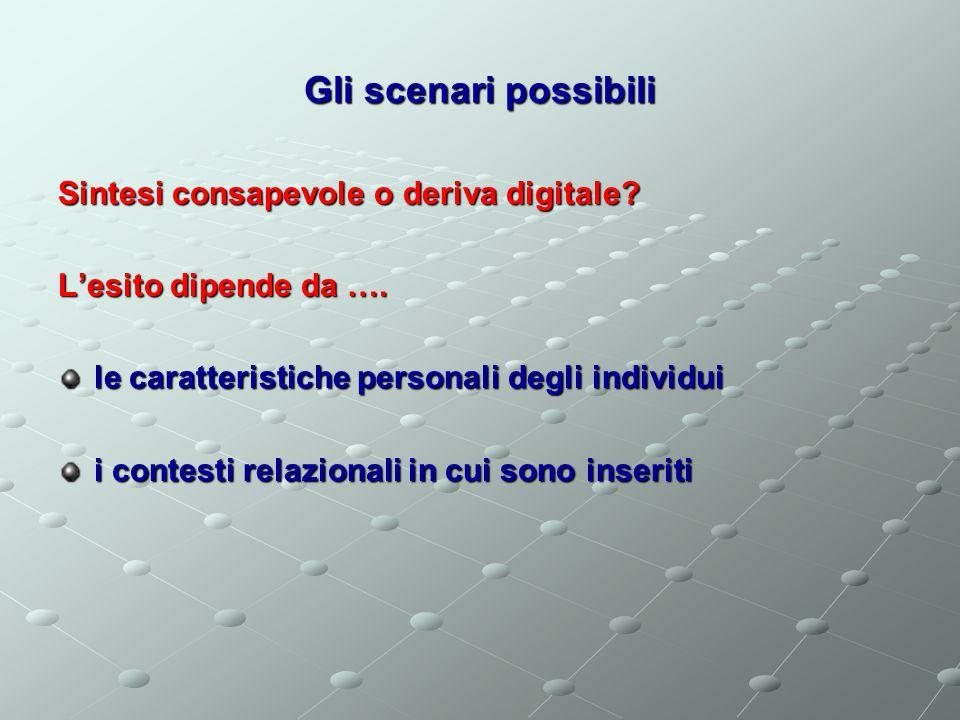Gli scenari possibili Sintesi consapevole o deriva digitale.