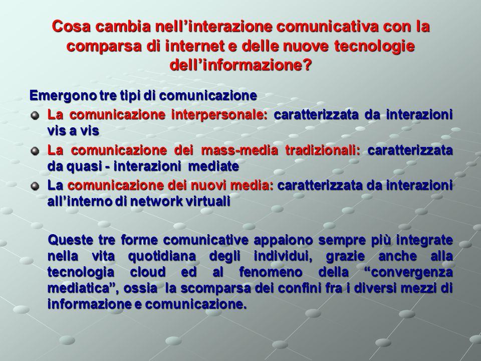 Cosa cambia nell'interazione comunicativa con la comparsa di internet e delle nuove tecnologie dell'informazione.