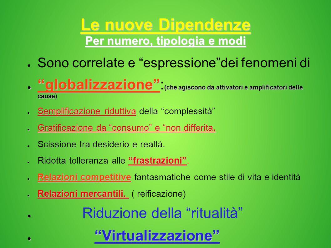 """Le nuove Dipendenze Per numero, tipologia e modi ● Sono correlate e """"espressione""""dei fenomeni di ● """"globalizzazione"""" (che agiscono da attivatori e amp"""