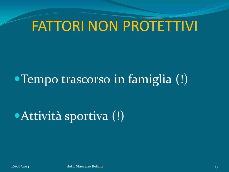 FATTORI NON PROTETTIVI Tempo trascorso in famiglia (!) Attività sportiva (!) 16/08/2014dott.
