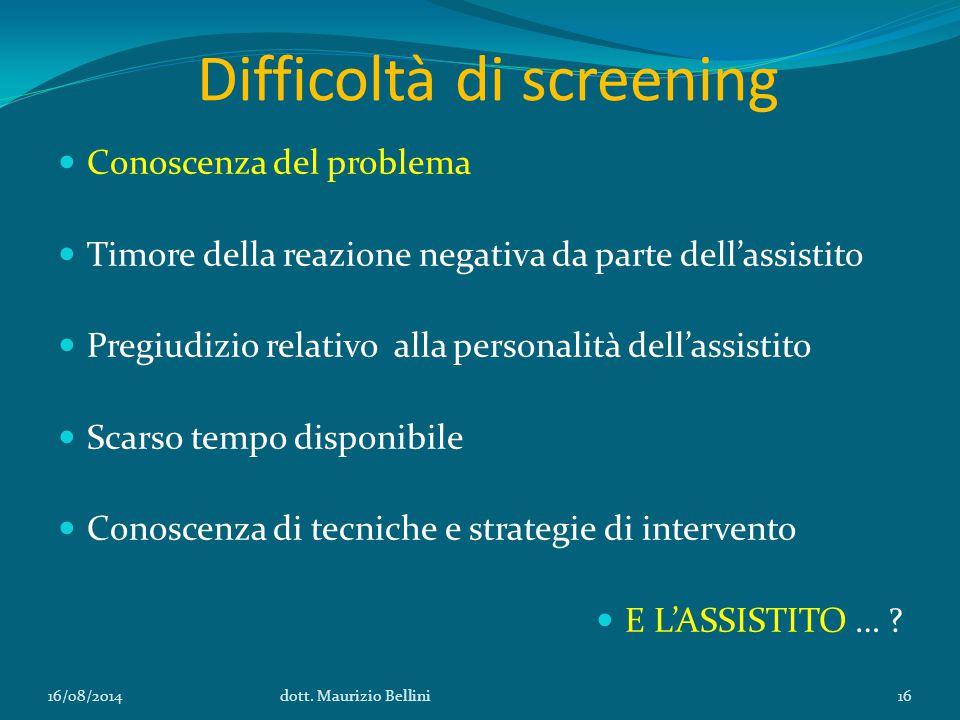 Difficoltà di screening Conoscenza del problema Timore della reazione negativa da parte dell'assistito Pregiudizio relativo alla personalità dell'assistito Scarso tempo disponibile Conoscenza di tecniche e strategie di intervento E L'ASSISTITO … .