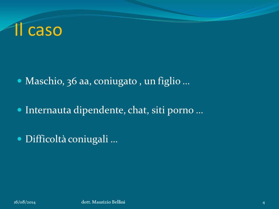 Il caso Maschio, 36 aa, coniugato, un figlio … Internauta dipendente, chat, siti porno … Difficoltà coniugali … 16/08/2014dott.