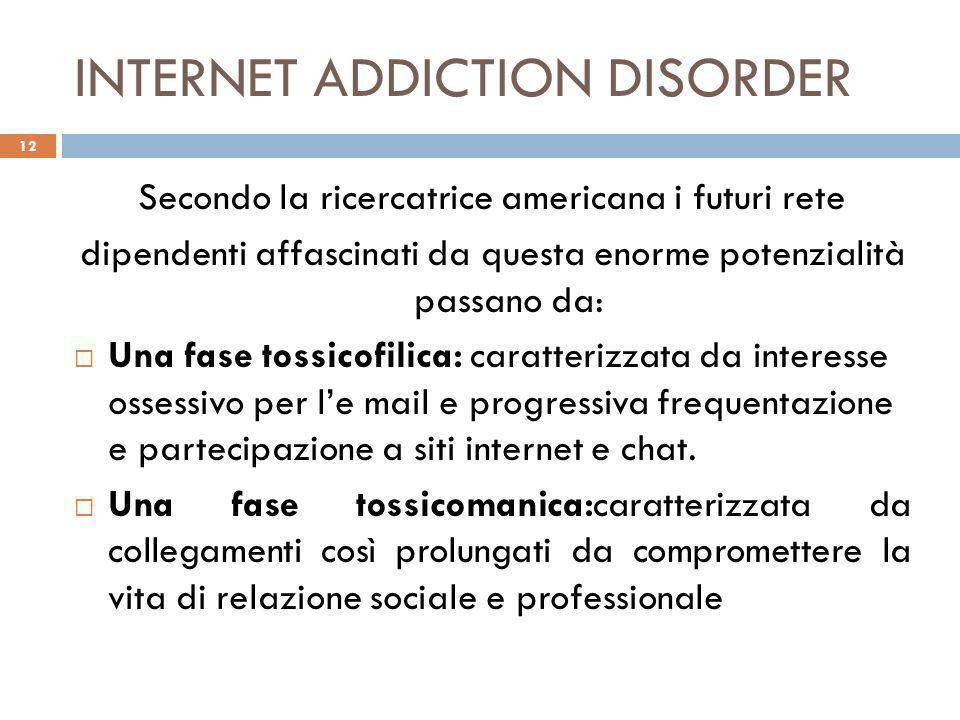INTERNET ADDICTION DISORDER Secondo la ricercatrice americana i futuri rete dipendenti affascinati da questa enorme potenzialità passano da:  Una fas